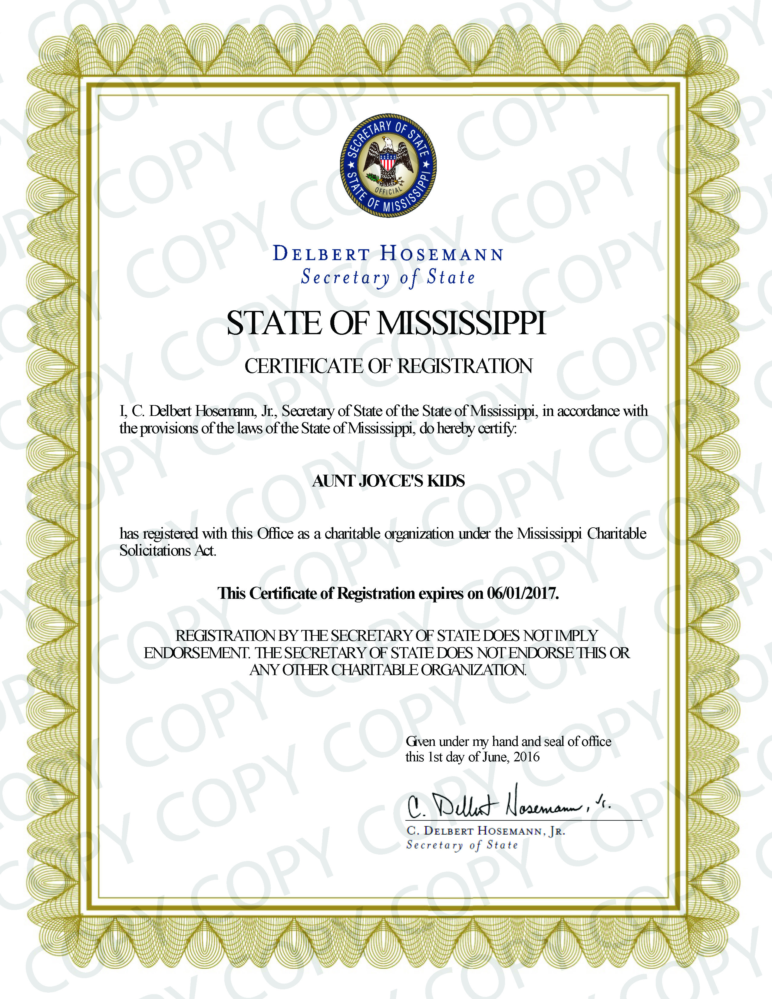 Secretary of State Certificate